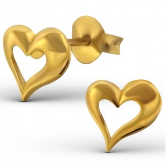"""Stříbrné pozlacené náušnice pecky """"Zlatá srdce"""". Ag 925/1000"""